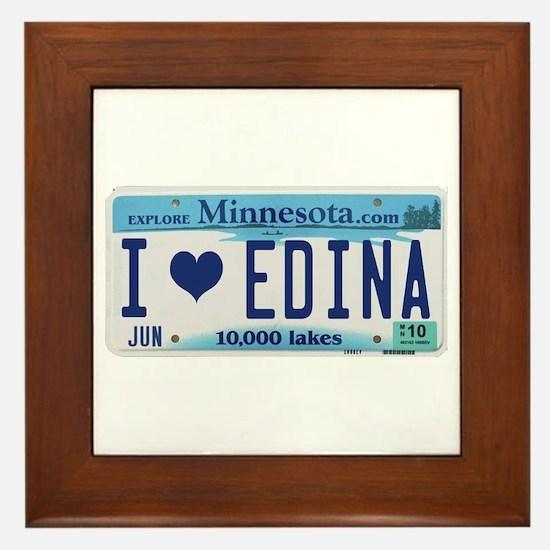 Edina License Plate Framed Tile