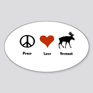 Peace Love Vermont Oval Sticker
