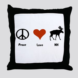 Peace Love New Hampshire Throw Pillow