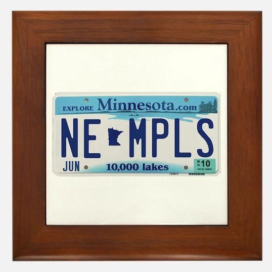 NE Minneapolis License Plate Framed Tile