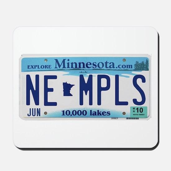 NE Minneapolis License Plate Mousepad