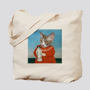 Cat with Doll Tote Bag