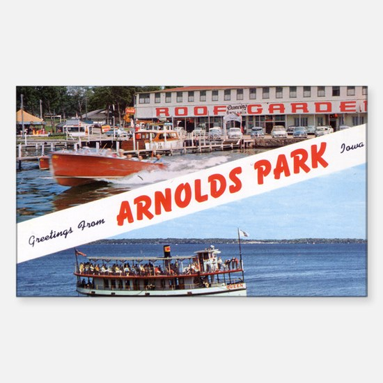 1958 Views of Arnolds Park Rectangle Decal