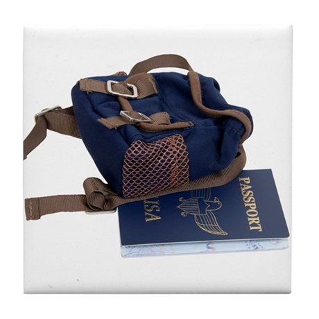 Passport and backpack Tile Coaster