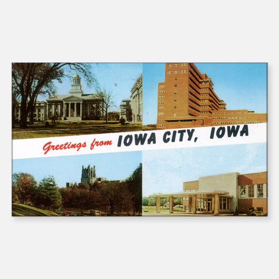 Greetings from Iowa City Rectangle Decal