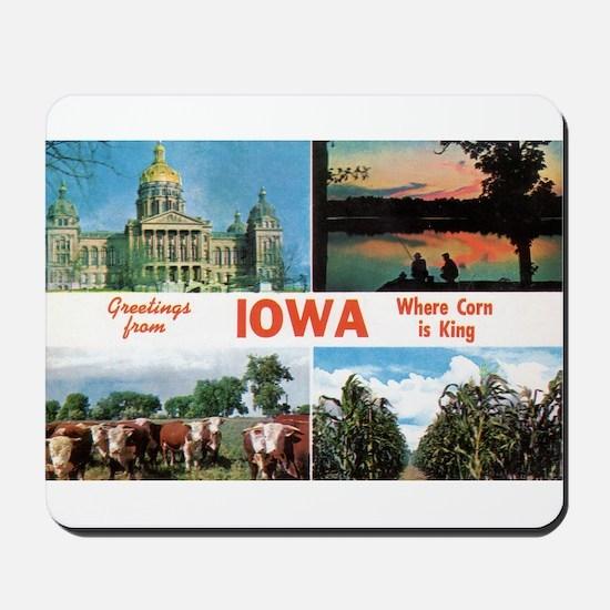 1950's Greetings from Iowa Mousepad