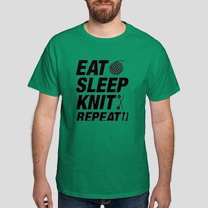 Eat Sleep Knit Repeat Dark T-Shirt