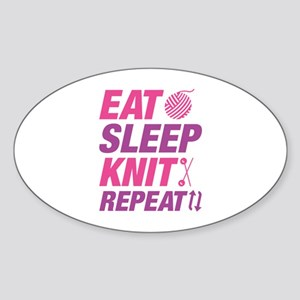 Eat Sleep Knit Repeat Sticker (Oval)