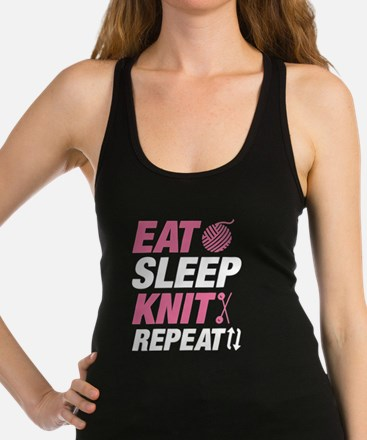 Eat Sleep Knit Repeat Racerback Tank Top