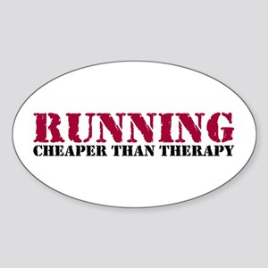 Running therapy red Sticker (Oval)