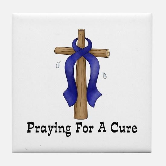 Blue Ribbon Prayer Tile Coaster