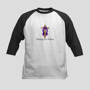Purple Ribbon Prayer Kids Baseball Jersey