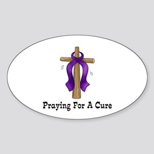 Purple Ribbon Prayer Oval Sticker