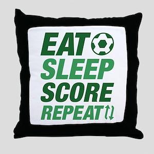 Eat Sleep Score Repeat Throw Pillow