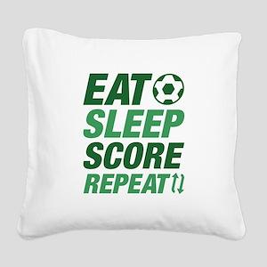 Eat Sleep Score Repeat Square Canvas Pillow