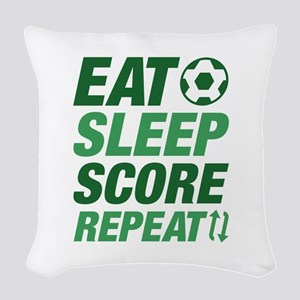 Eat Sleep Score Repeat Woven Throw Pillow