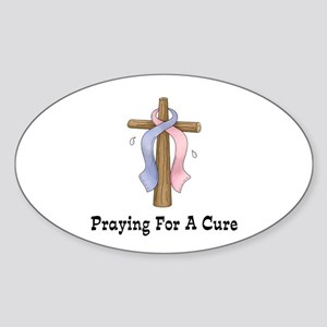Pink & Blue Ribbon Prayer Oval Sticker