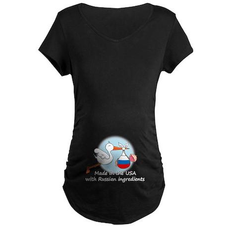 Stork Baby Russia USA Maternity Dark T-Shirt