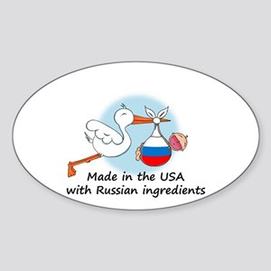 Stork Baby Russia USA Oval Sticker