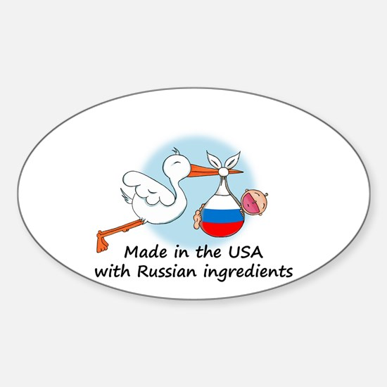 Stork Baby Russia USA Oval Decal