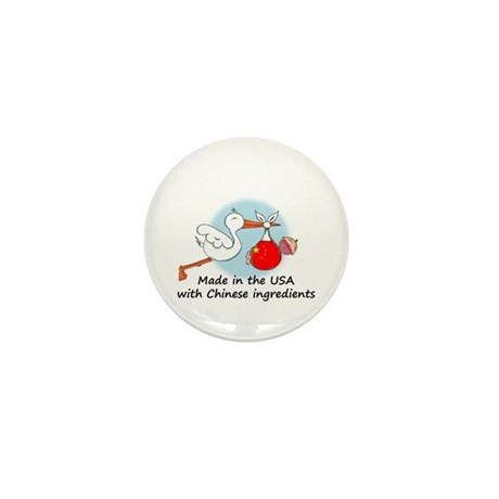 Stork Baby China USA Mini Button