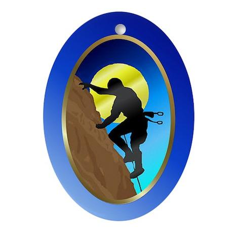 Rock-Climbing Oval Ornament