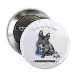 """Frog Dog (Brindle Boy) 2.25"""" Button"""