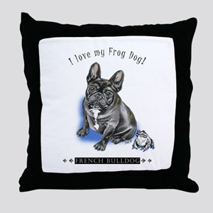 Frog Dog (Brindle Boy) Throw Pillow