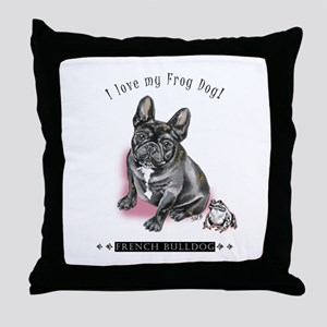 Frog Dog (Brindle Girl) Throw Pillow