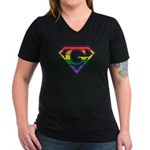 Super Gay! Outlined Women's V-Neck Dark T-Shirt