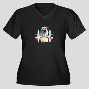 Venice Beach Women's Plus Size V-Neck Dark T-Shirt