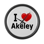 I Love Akeley Large Wall Clock