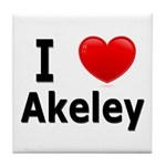 I Love Akeley Tile Coaster