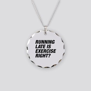 Running Late Necklace Circle Charm