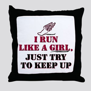 Run like a girl red Throw Pillow