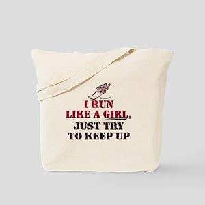 Run like a girl red Tote Bag