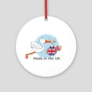 Stork Baby UK Ornament (Round)