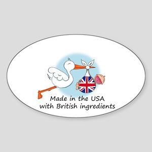 Stork Baby UK USA Oval Sticker