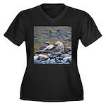 Killdeer Women's Plus Size V-Neck Dark T-Shirt