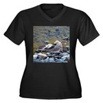 Killdeer Women's Plus Size V-Neck Dark T-Shirt
