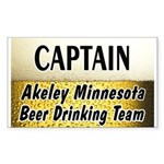 Akeley Beer Drinking Team Rectangle Sticker 10 pk