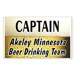Akeley Beer Drinking Team Rectangle Sticker 50 pk