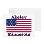Akeley US Flag Greeting Cards (Pk of 10)