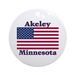Akeley US Flag Ornament (Round)