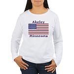 Akeley US Flag Women's Long Sleeve T-Shirt