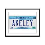 Akeley License Plate Framed Panel Print
