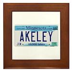 Akeley License Plate Framed Tile