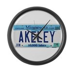 Akeley License Plate Large Wall Clock