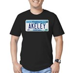 Akeley License Plate Men's Fitted T-Shirt (dark)