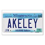 Akeley License Plate Rectangle Sticker 50 pk)